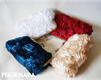 Customize your rosette clutch You choose the color Made to Order