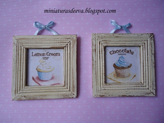 "Set of two framed pictures. Shabby Chic Cupcakes ""Chocolate&Vanilla"""