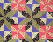 Columns Pieced Quilt Top, Twin or Full