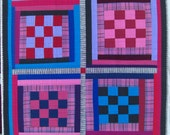 """Upcycled Quilt, Thrift Store Shirt, Pink Turq, On Sale, 46"""" x 51"""