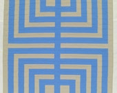 """Blue Tan Wall Quilt, Log Cabin Quilt, Stripes, On Sale, Light and Airy, 41"""" x 45"""""""