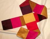"""Womens Silk Scarf, FiberArt, Accessories, Wearable Art, (D) 4"""" x 51"""""""