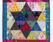 """Star DOLL Quilt, Charm Quilt, Wall Hanging, Mini Quilt, Bright Multi Colors, 15"""" x 15"""""""
