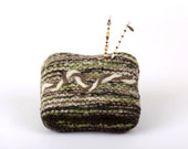 Pincushion, ON SALE, Forest Path, Chinese Coin Charm, Wool, Knit, Needle Felt, Pin Cushion (219)