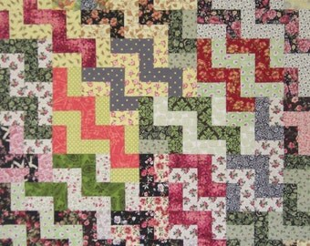 "Classic Staircase Quilt, Twin Bed or Large Wall Quilt, Retro, 56"" x 70"""
