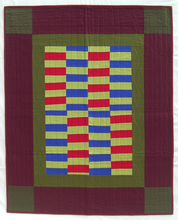 """Amish Improv Wall Quilt, Crib Quilt, Baby Quilt, Chinese Coins, Solid Colors, 34"""" x 42"""""""