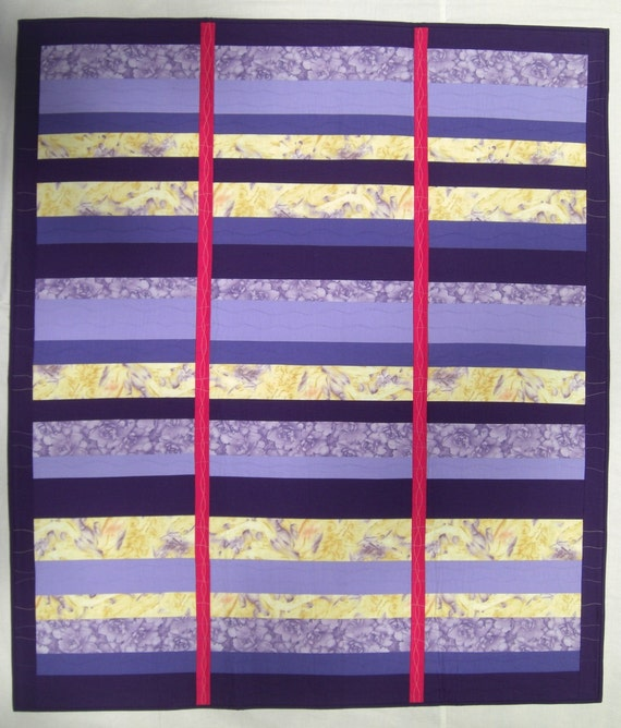 """Purple Yellow Wall Quilt, Yvonne Porcella Fabric, On Sale, Stripes, 44"""" x 51"""""""