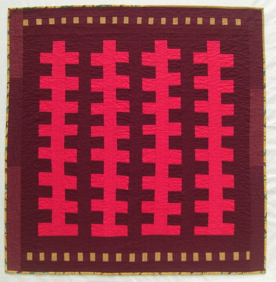 "Improv Zipper Wall Quilt, Red & Burgundy Wall Hanging, Bold Design, On Sale, 36"" x 37"""