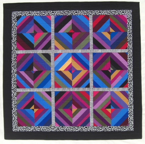 "Multi Color String Quilt, B&W Accents, Black Border, Wall Hanging,  44"" x 44"""