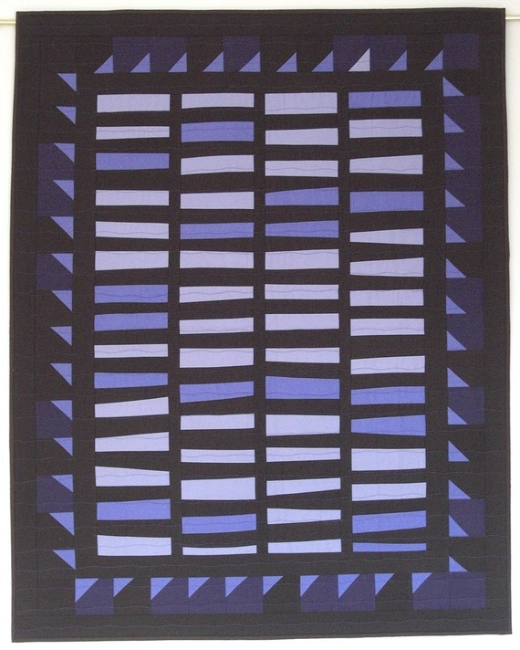"""Amish Wall Quilt, Heartsy, Blue, Coins & Sawtooth, Periwinkle and Brown, 34"""" x 43"""" Quiltsy"""