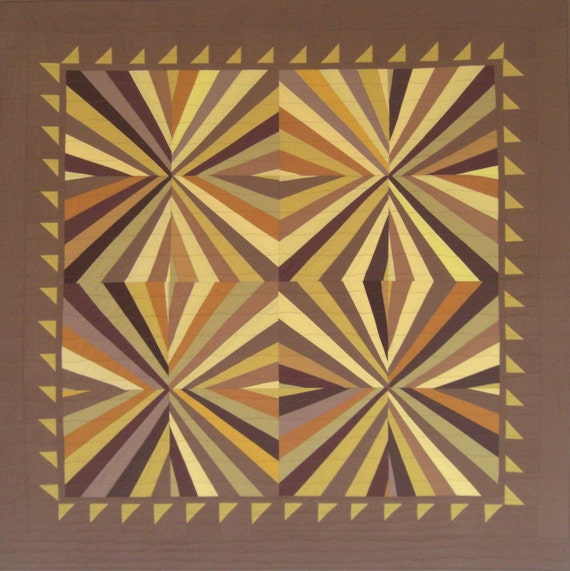 "Optical Illusion Wall Quilt, Fans, Geometric Image, Warm Gold & Brown, 44"" x 45"""