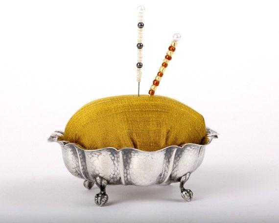 Pincushion, Footed Silverplate Dish, Chartreuse Silk Dupioni, Hematite Beads, Pin Cushion
