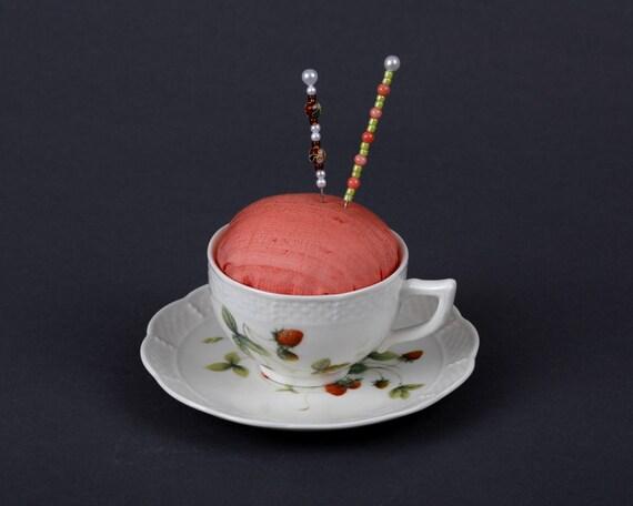 Pincushion, Teacup and Saucer, Strawberries, Silk, Cloisonne, Peach, Sewing Gift, Pin Cushion