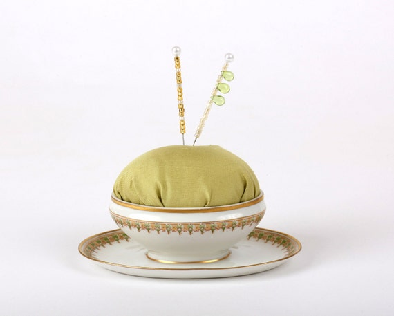 Pincushion, 1910 Limoges, France, Porcelain China from Gimbel Bros, New York, 1910,  Sewing Accessory, Sewing Gift, Pin Cushion