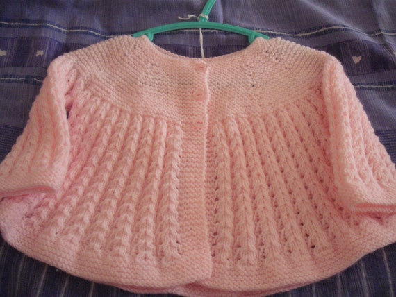 SALE 10% off hand knitted baby cardigan 6 to 9 months in pink