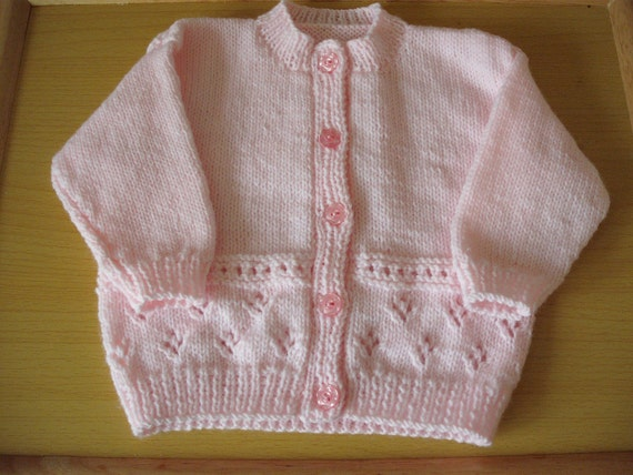 hand knitted baby cardigan 3 to 6 months in pink