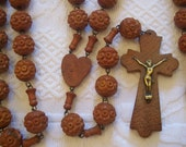 Antique French religious wooden beaded rosary necklace, monk chapelet souvenir our lady of Lourdes, heart medal, cross crucifix Jesus Christ