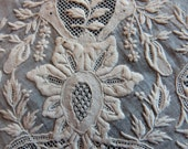 Antique French handmade needle lace panel, 1800s hand embroidered lace, arts and crafts lace , whitework handwork embroidery