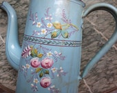 Antique French enamel coffee pot w roses, floral enamelware cafetiere country cottage chic France , RARE kitchenware
