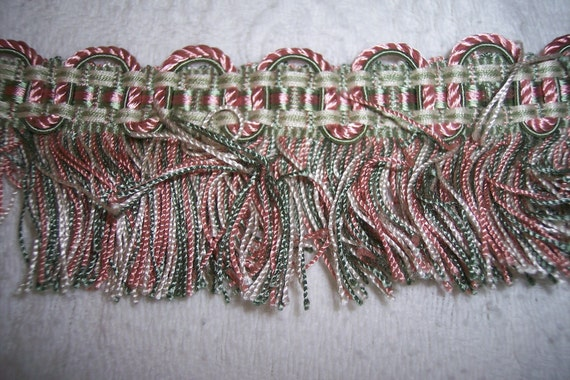 French vintage trim w satin and cotton, LONG piece of fringe trim passementerie in soft pink, green, perfect condition, sewing supplies