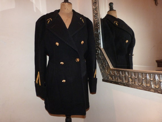 Vintage police costume French gendarme wool mens coat, RARE military jacket for dudes, blue wool winter coat w gold trim, buttons