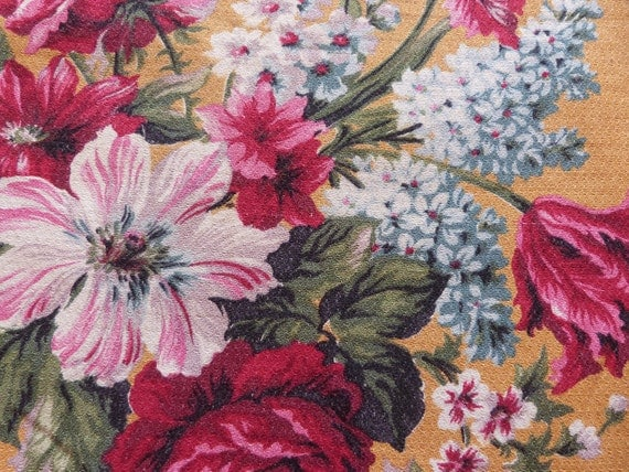 Vintage French floral cretonne fabric, Victoria, BIG piece, 1950s, bright big pink roses, great supply for textile sewing projects