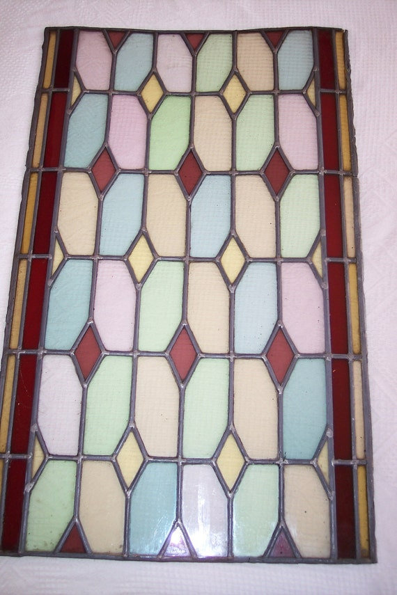 Antique French stained leaded glass window architectural salvage BIG stained glass window panel 18th 1700s from Chateau private chapel