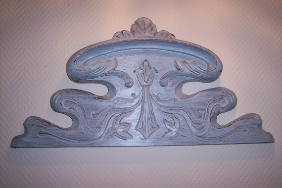 Art Nouveau French antique pediment, handcarved wooden architectural salvaged hanging canopy, floral fronton for architecture decor
