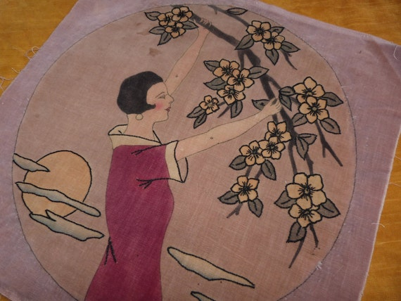 Antique Art Deco fabric French hand painted velvet panel w Artdeco embroidery for boudoir pillow cushion cover or sewing textile