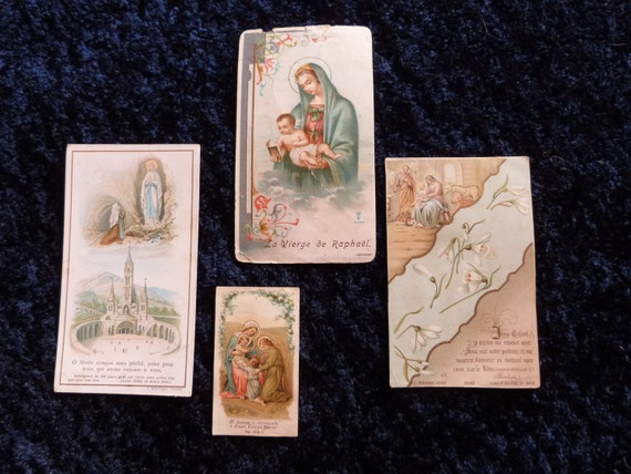 4 antique Holy prayer cards w Holy virgin Mary, Lourdes, Madonna, holy family, angel, 1800s French religious cards collection