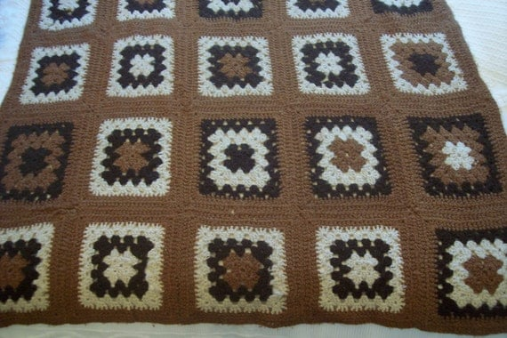 Vintage crocheted afghan blanket, granny square, wool, handmade French bedspread throw coverlet spread w  floral design, bed linens