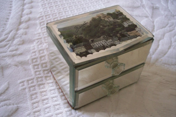1920s French souvenir trinket box, mirror jewelry box, antique box w picture of village in France, beveled mirror drawers
