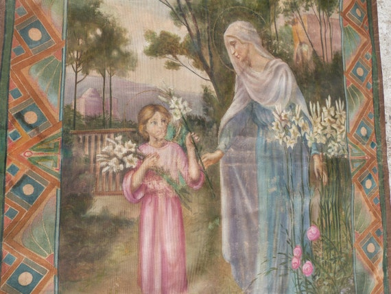 Antique religious oil painting on linen canvas, holy virgin Mary, French 1900s, Big signed Holy mother Marie madonna, religious European art
