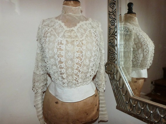 Antique French Victorian chemise blouse bodice shirt w handmade embroidered lace, 1800s, boned collar, long sleeves