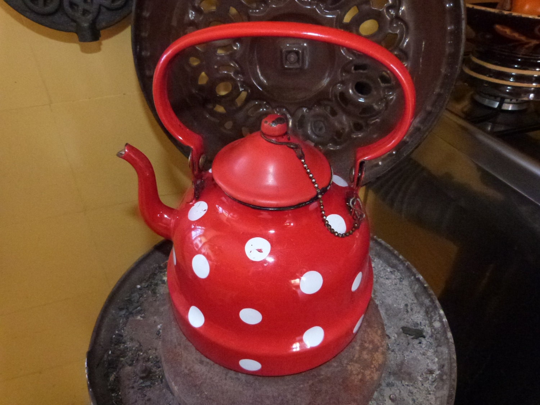 Antique Enamel Kettle Coffee Pot Red Polka Dot Enamelware Red