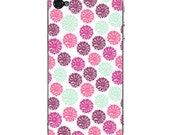 Iphone 3, 3G, 3GS and Iphone 4, 4S Skins - Round pink and turquoise flowers