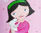 Little girl with puppy personalized original painting