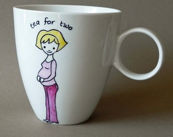 Pregnant Mom Personalized hand painted jumbo porcelain cup