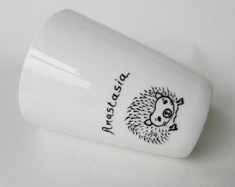 Hedgehog, hand painted white porcelain mug