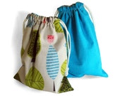 Reversible Cotton Baby Bag, Woodland Critters Drawstring Bag for Infant Toys or Seek and Find Games