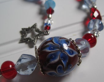 Red, White, and Blue Glass Bead Necklace