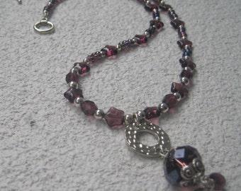 Purple Glass Pendant Necklace