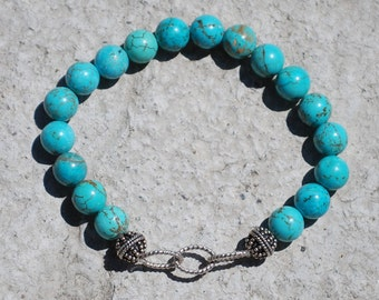 Silver Chain and Turquoise Bracelet