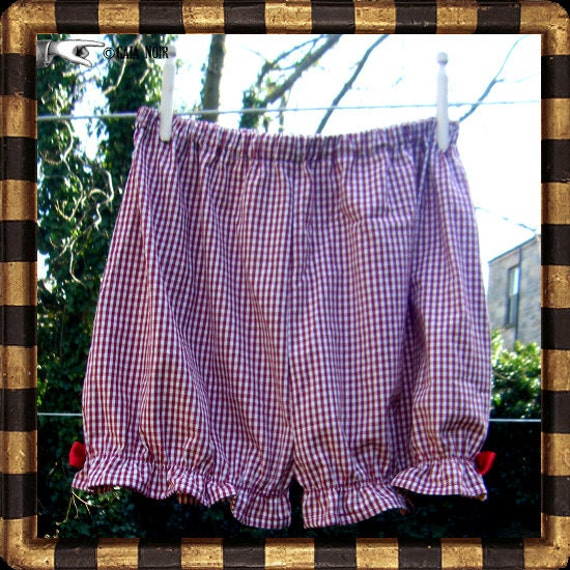 SALE Gingham Shorts Bloomers Red Hotpantaloons Eco Lolita Vintage Bows Fairtrade Organic Checked (Size Small)