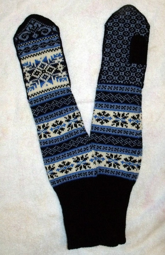 Norwegian Scandinavian Hand Crafted 100% Wool Mittens,  Over / Above Elbow Long, Folk art
