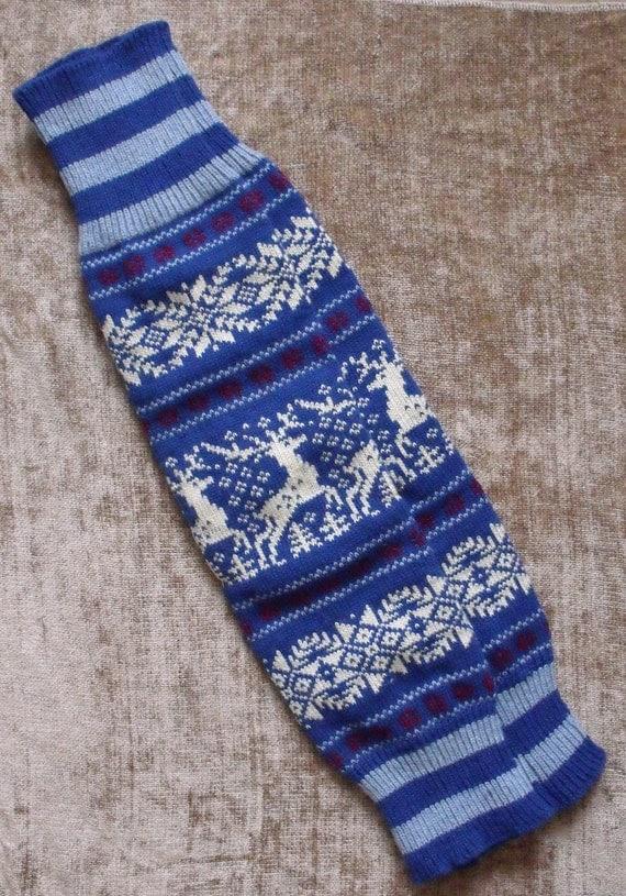 Norwegian Scandinavian Hand Crafted 100% wool LEG WARMERS, Reindeer