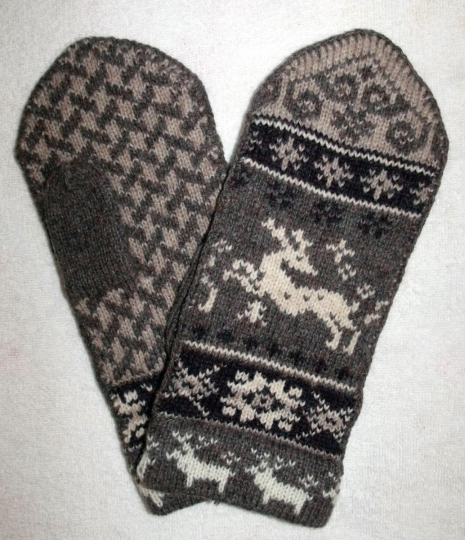Norwegian Scandinavian hand crafted 100% Wool Mittens folk