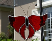 """Cherry Red Waterglass Stained Glass Butterfly 6"""" x 5"""""""