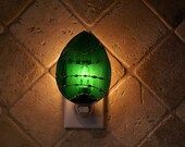 Green Wispy Irridescent Easter Egg Night Light - Original Designed Handcrafted Authentic Stained Glass