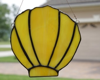 Stained Glass Clamshell Suncatcher with Patina Finish